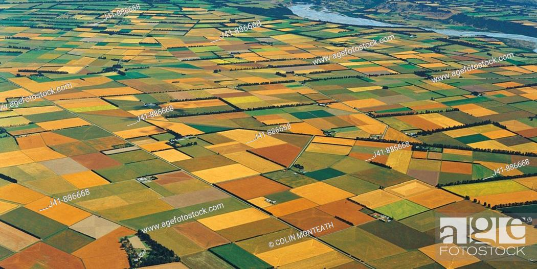 Stock Photo: Agricultural patchwork Canterbury Plains near Rakaia aerial view New Zealand.