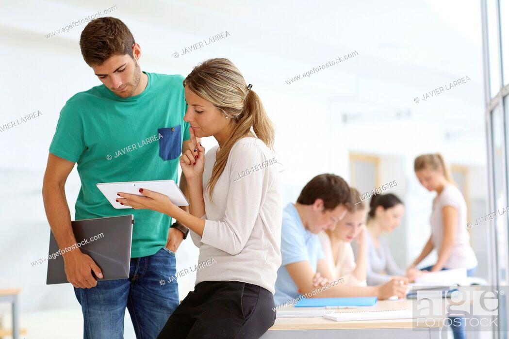Stock Photo: Students, School of Business, UPV, EHU, University of Basque Country, San Sebastian, Donostia, Gipuzkoa, Basque Country, Spain.