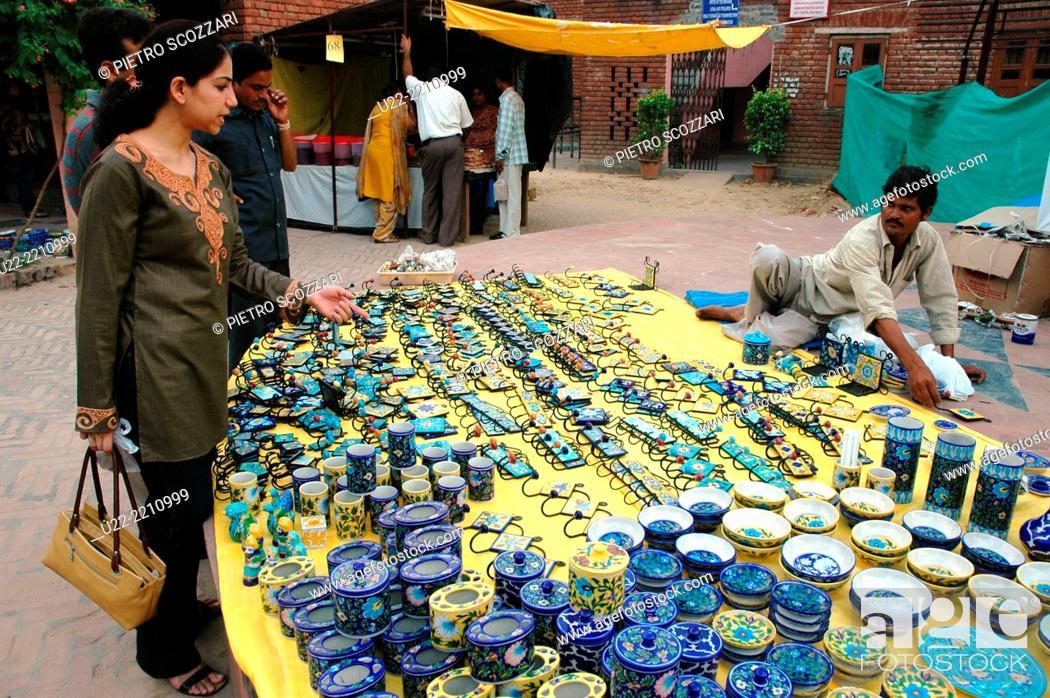 Delhi India Handicrafts Sold At Dilli Haat Market Stock Photo
