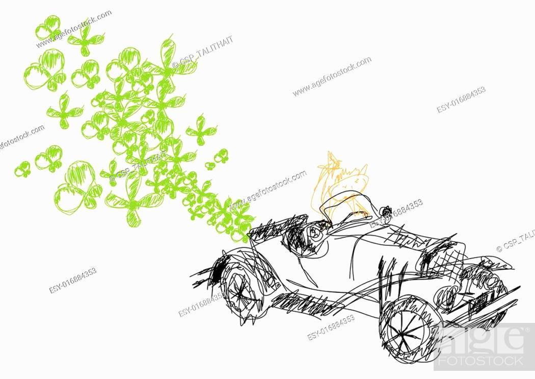 Stock Vector: vector ecological car.
