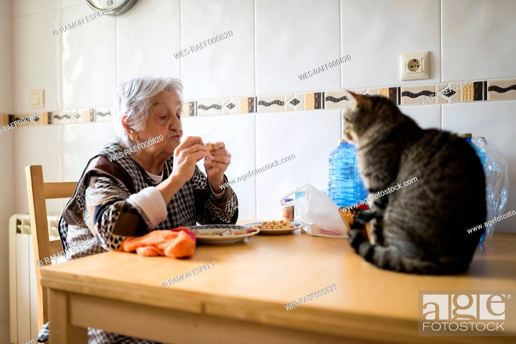 Stock Photo: Senior woman eating while the cat watching her.