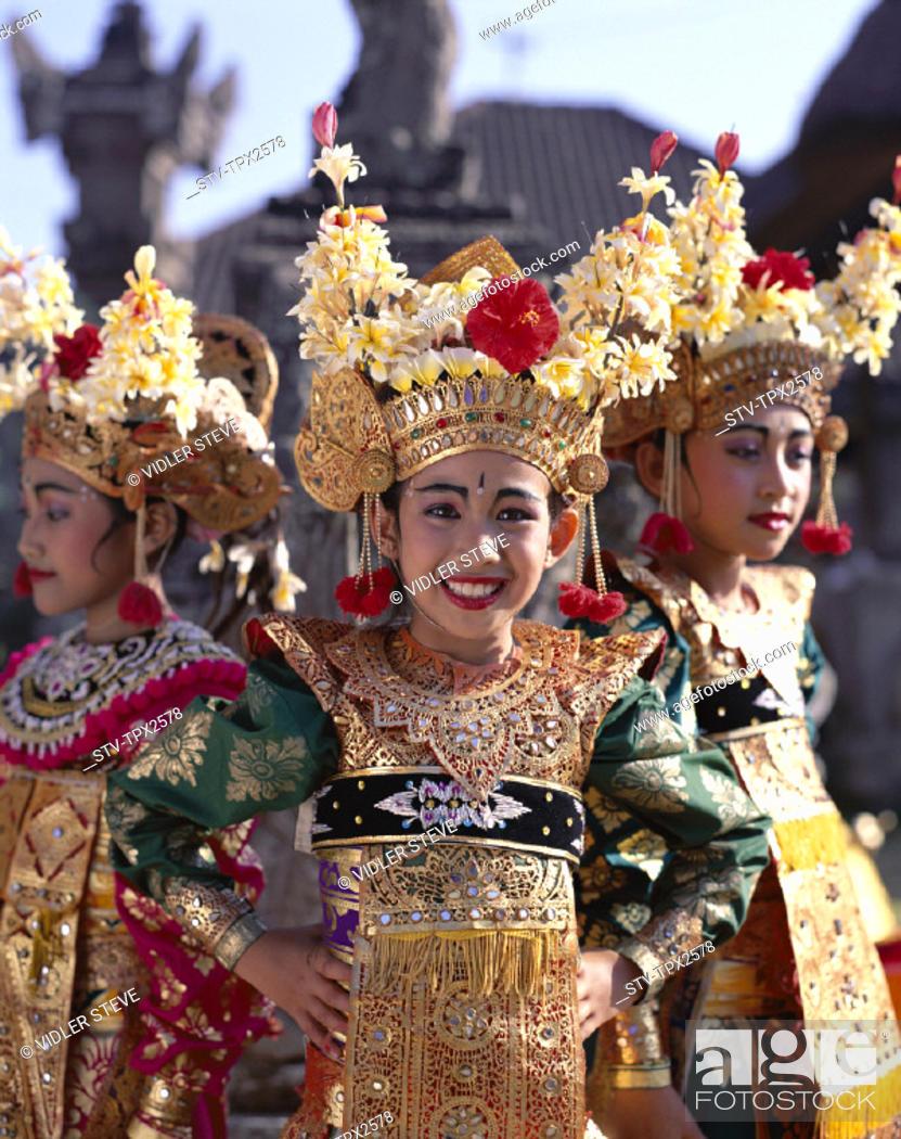 Bali Asia Costume Dancers Dancing Girls Holiday Indonesia