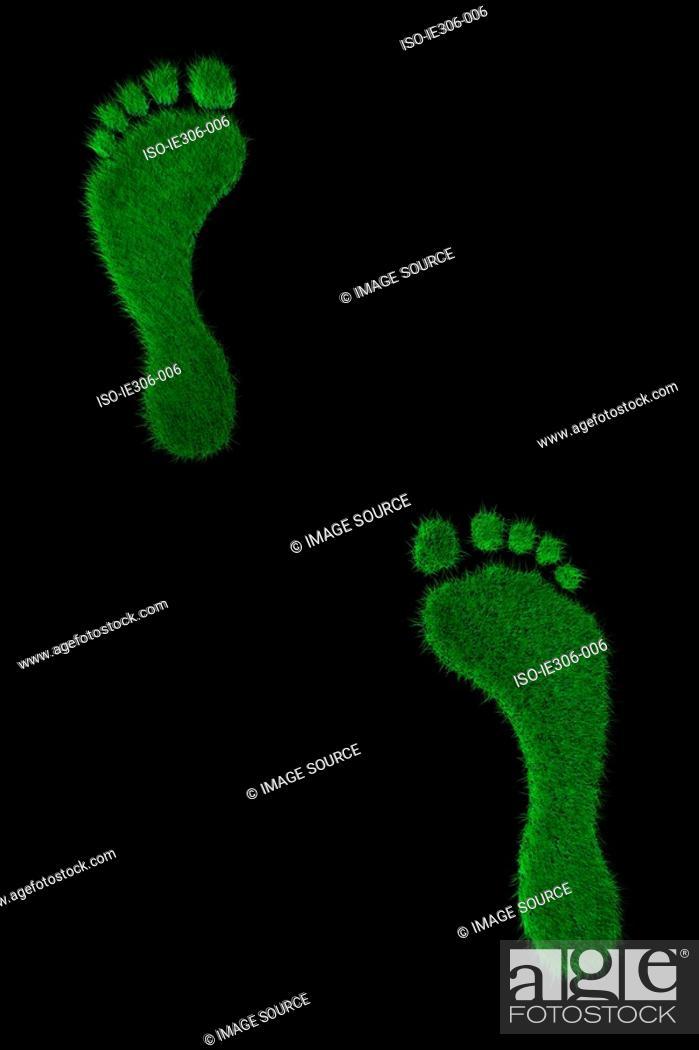 Stock Photo: Pair of grassy feet.