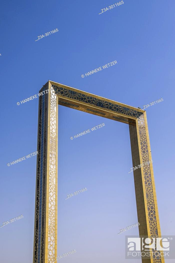 "Stock Photo: The Dubai Frame, which was finished in January 2018, is an architectural landmark in Zabeel Park, Dubai. It has been described The Guardian newspaper as """"the."
