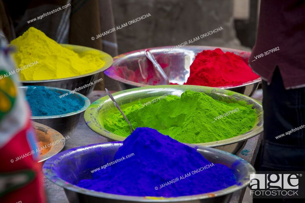 Stock Photo: Shankhari Bazar in big color powder market of dhaka ready for big Hindu festival in Dol and Holi festivals. Over the years it has become the most popular centre.
