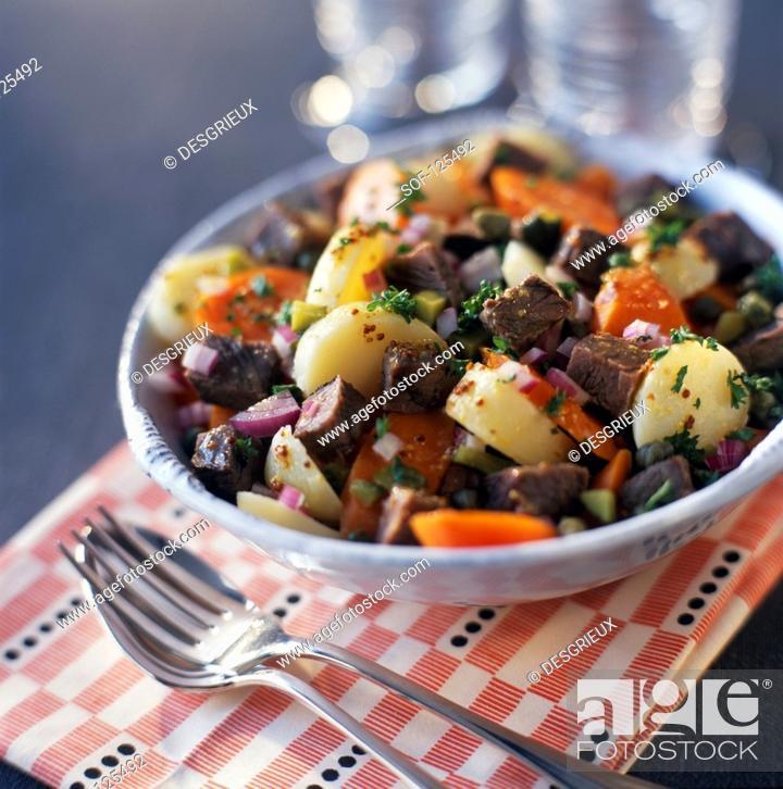Stock Photo: Beef salad.