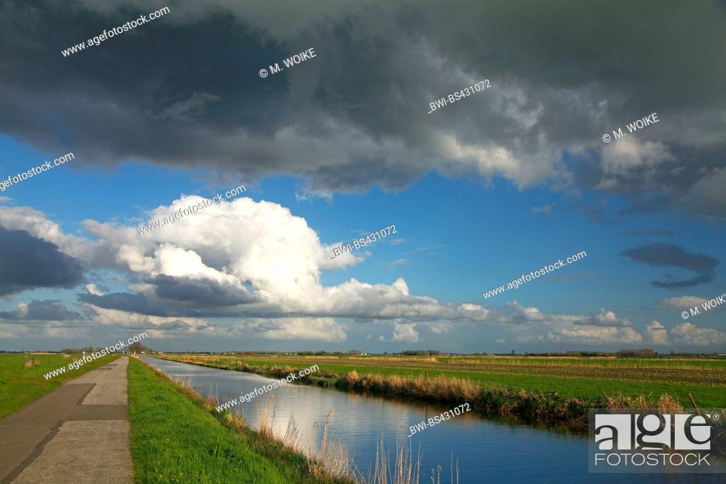 Stock Photo: landscape with meadows and with thundercloud, Netherlands, Utrecht, Eemnes.