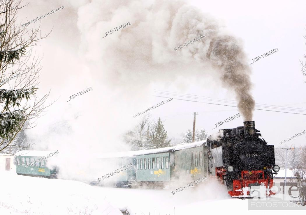 Stock Photo: steam train, Oberwiesenthal - Cranzhal Fichtelbergbahn, Germany.