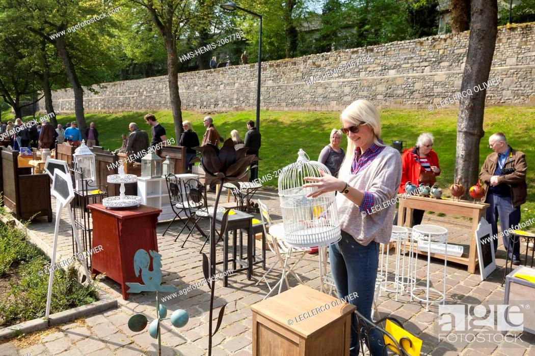 Stock Photo: Belgium, Flanders, Limbourg Province, historic city of Tongeren (Tongres), antique flea market at the foot of the medieval ramparts.