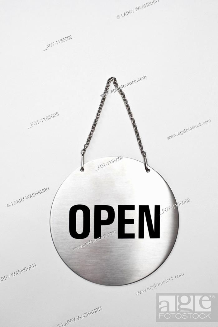 Stock Photo: Open sign on silver chain.
