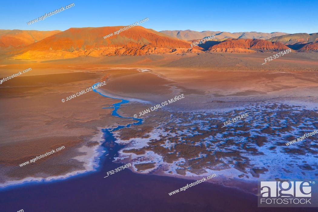 Stock Photo: Patterns, Aerial View, Laguna Carachi Pampa, El Peñón village, La Puna, Argentina, South America, America.