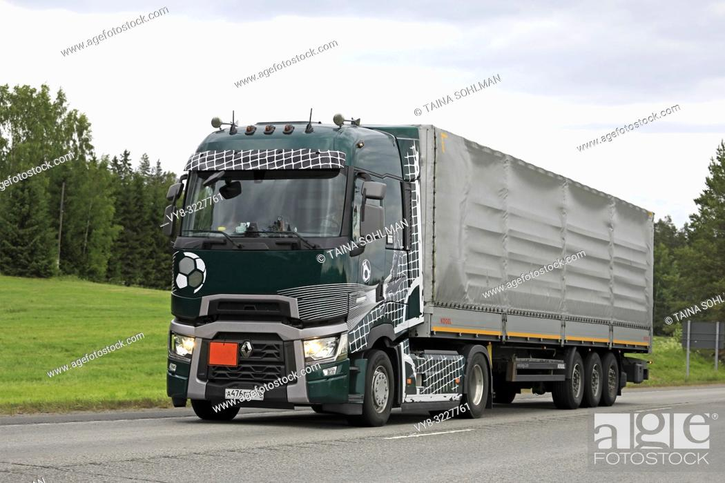 Russian Renault Trucks T semi truck customized with soccer