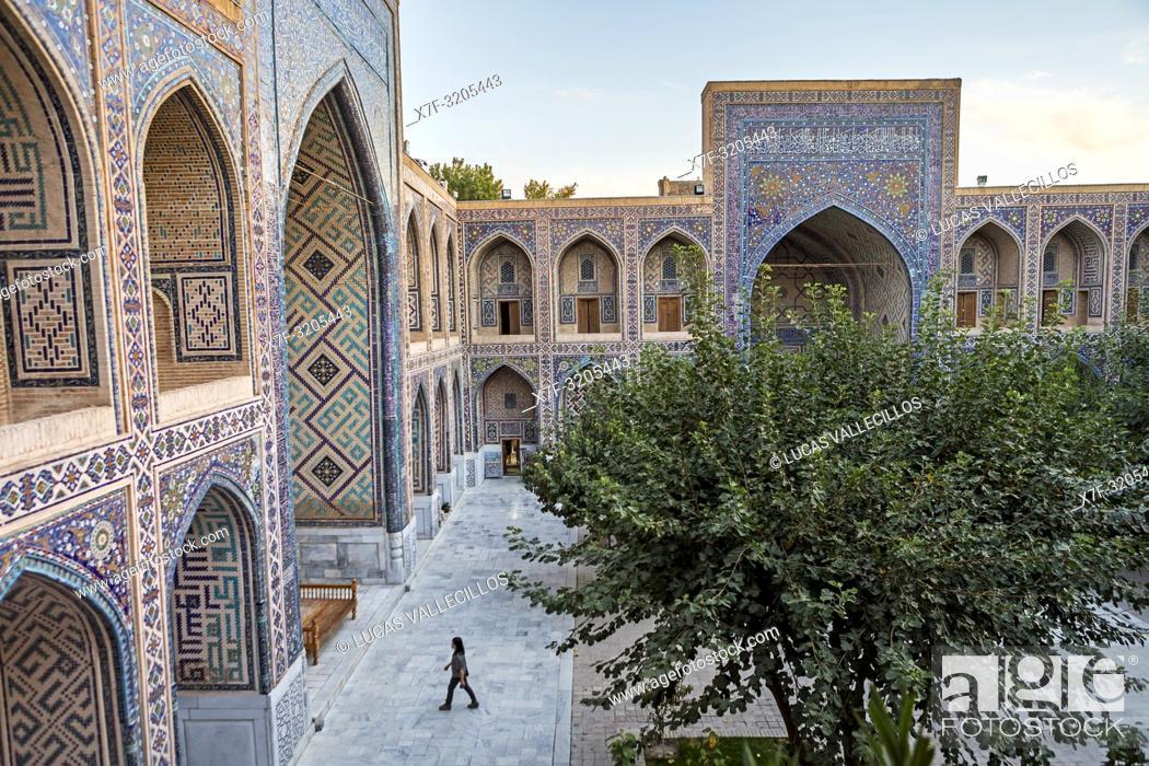 Stock Photo: Courtyard of Ulugbek Medressa, Registan, Samarkand, Uzbekistan.