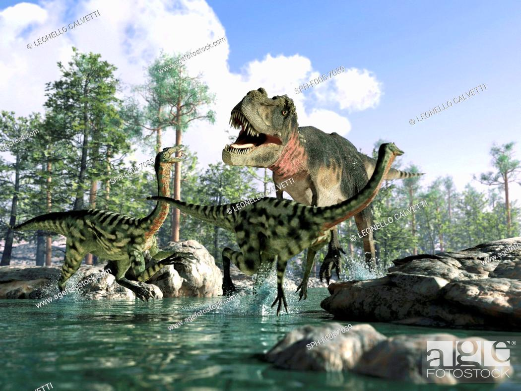 Stock Photo: T. rex. Computer artwork of a Tyrannosaurus rex dinosaur hunting Gallimimus dinosaurs. T.rex was one of the largest carnivorous dinosaurs.