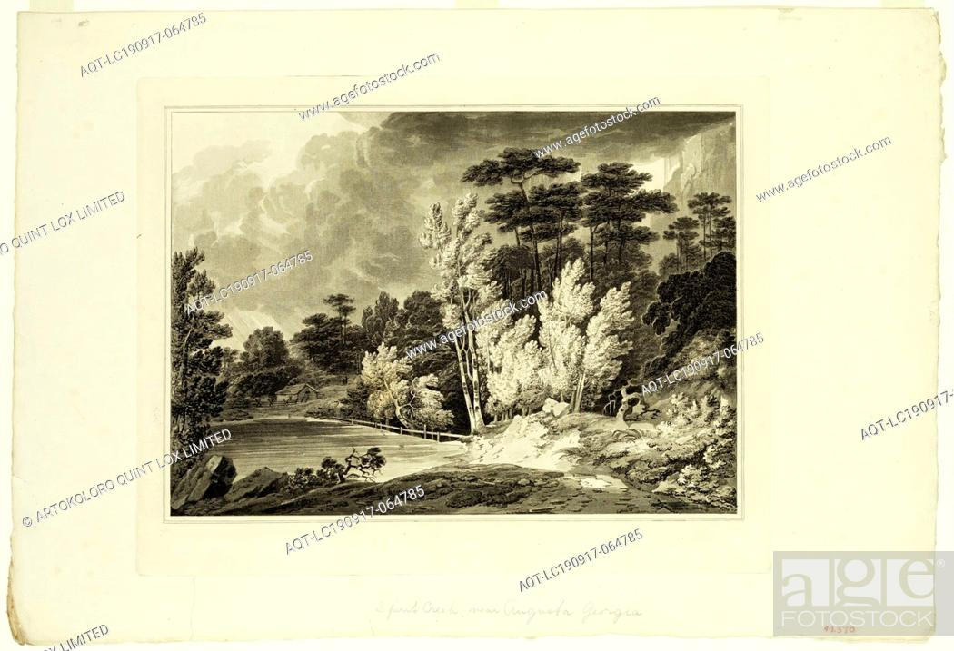 Stock Photo: John Hill, English, 1770-1850, after Joshua Shaw, English, 1776-1860, Spirit Creek near Augusta, Georgia, 1819, aquatint and etching printed in black ink on.