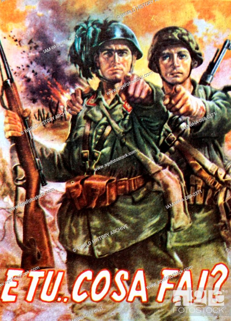 Stock Photo: Propaganda poster published by the Departmento Historica Militar during the Second World War depicting two soldiers pointing. Dated 20th Century.
