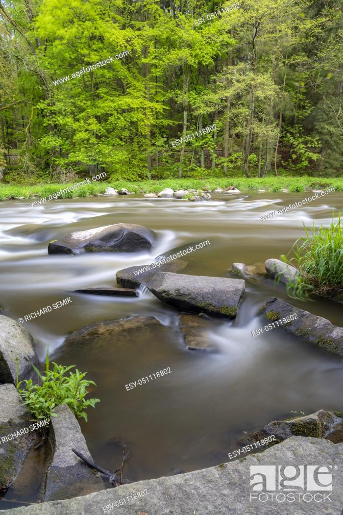 Stock Photo: river Sazava near Smrcna, Czech Republic.