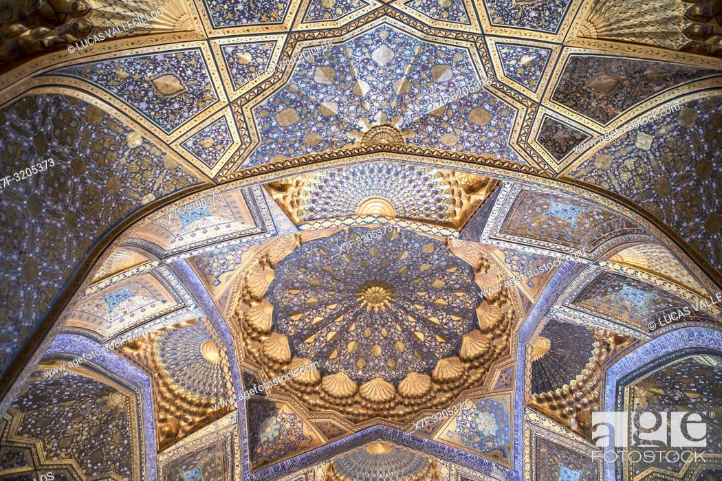 Imagen: Ceiling of Ak Saray Mausoleum, Samarkand, Uzbekistan.