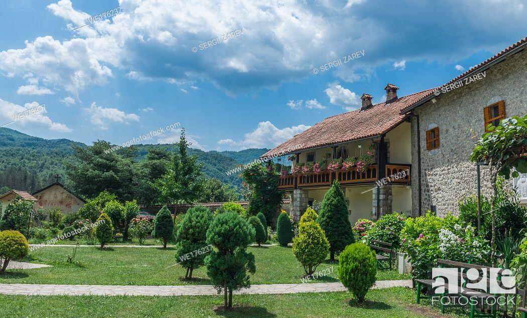 Stock Photo: Kolasin, Montenegro - 07. 16. 2018. Orthodox monastery Moraca. One of the most popular places to visit tourists in Montenegro.