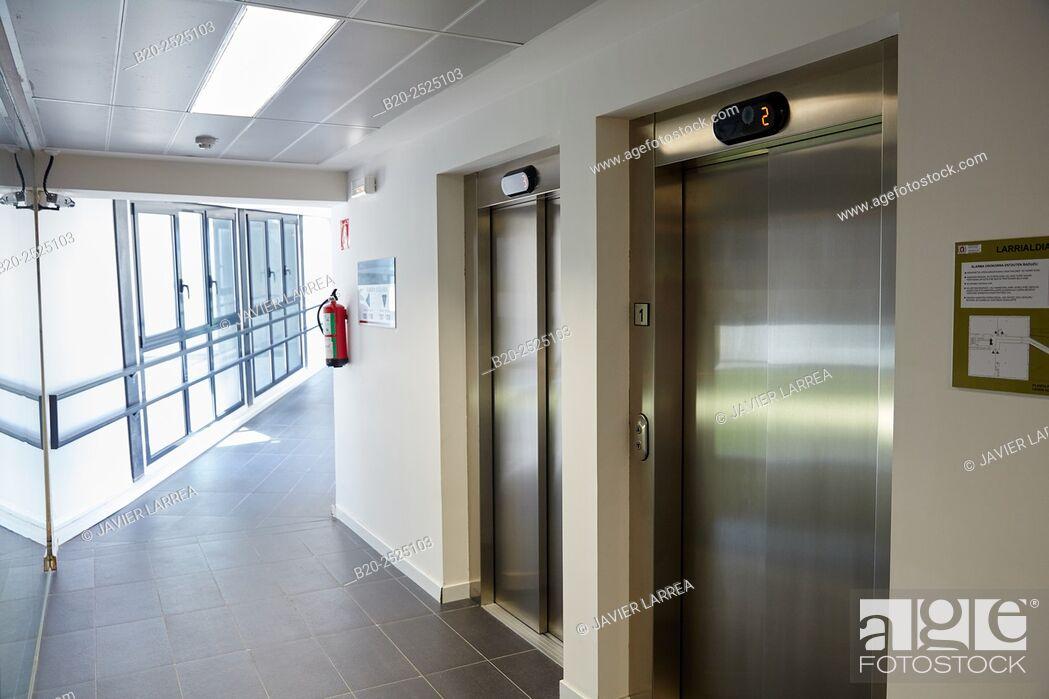 Imagen: lifts, Office building, PIA, Audiovisual Innovation Pole, Donostia, San Sebastian, Gipuzkoa, Basque Country, Spain.