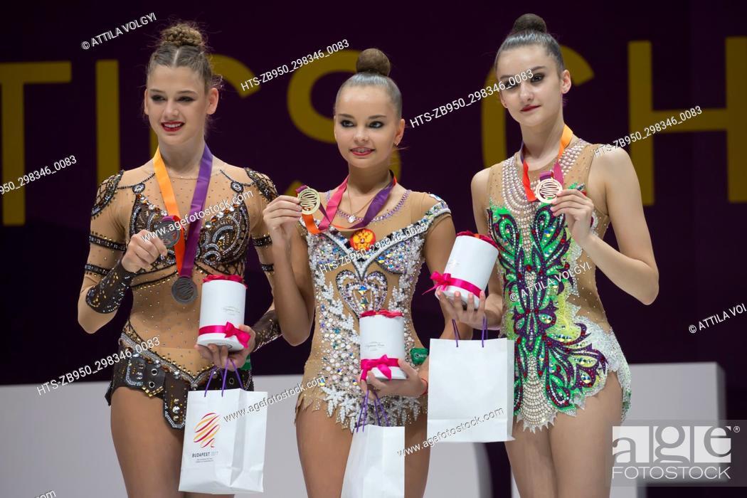 Stock Photo: (170522) -- BUDAPEST, May 22, 2017 () -- Gold medalist Arina Averina (C) of Russia, silver medalist Aleksandra Soldatova (L) of Russia and bronze medalist Alina.