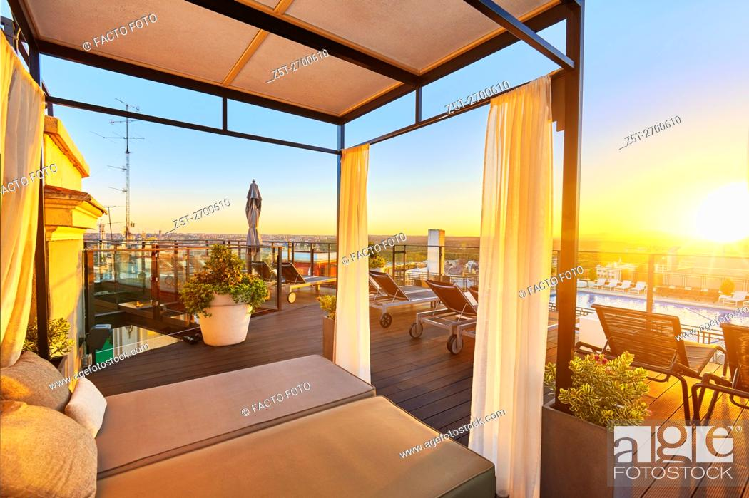 Stock Photo: Emperador Hotel rooftop, located at Lope de Vega building in Gran Via street. Madrid. Spain.