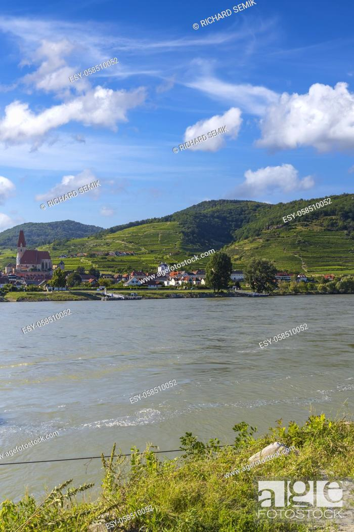 Stock Photo: Wachau valley near Durnstein, UNESCO site, landscape with vineyards and Danube river, Austria.