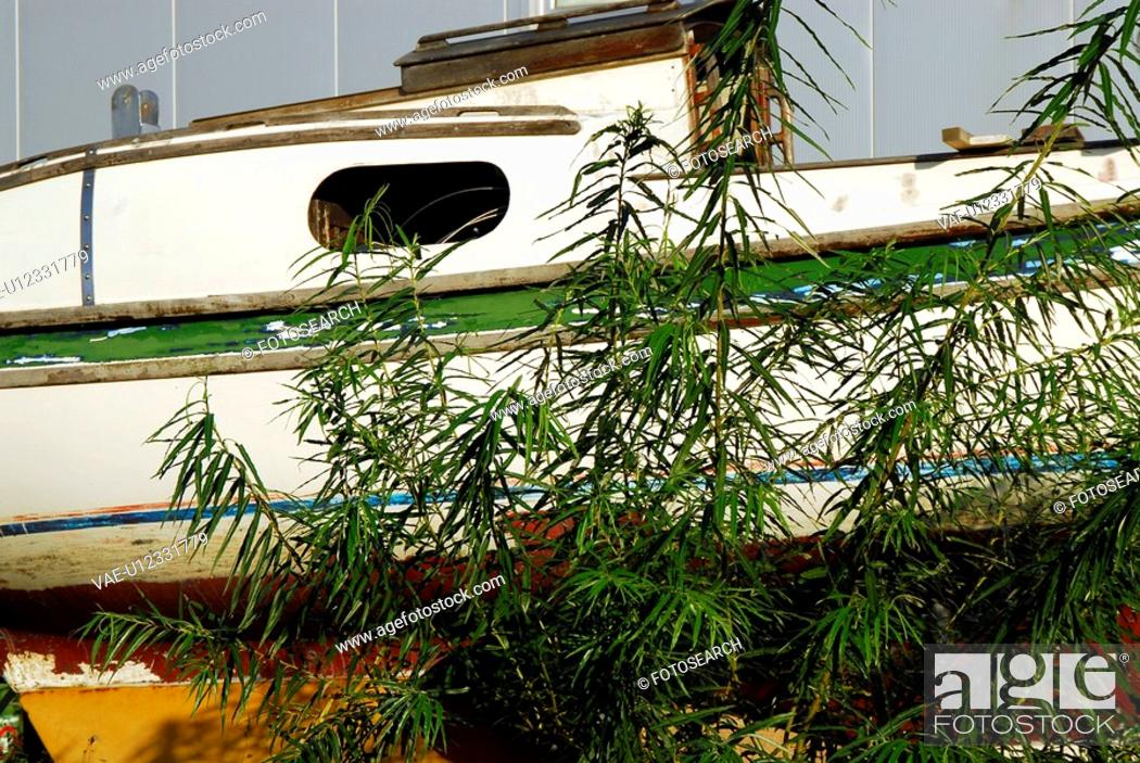 Stock Photo: exfoliate, atmosphere, decay, boat, bamboo, abandoned.
