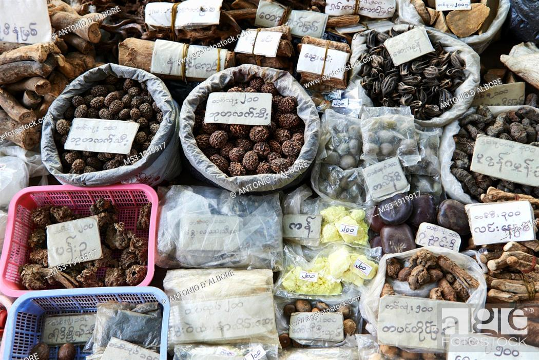 Stock Photo: Items, such as dry roots, fruits, nuts, mynerls used in myanmar traditional medicine  Chinatown Market  Yangon  Myanmar.