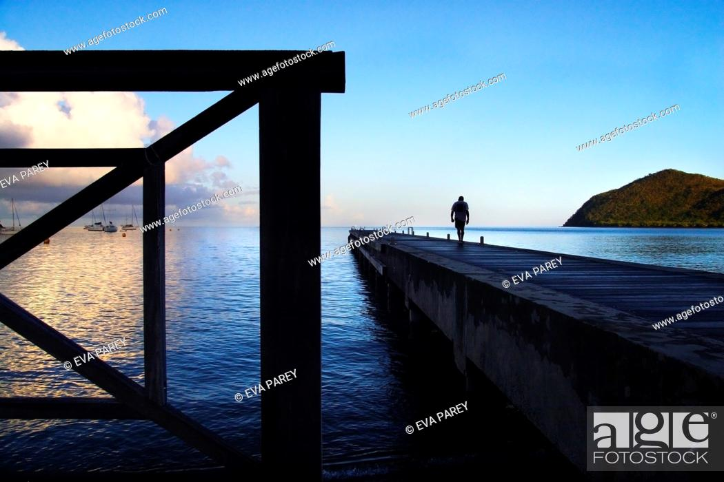 Stock Photo: The pier of Grand Anse in Martinique, a caribean island.
