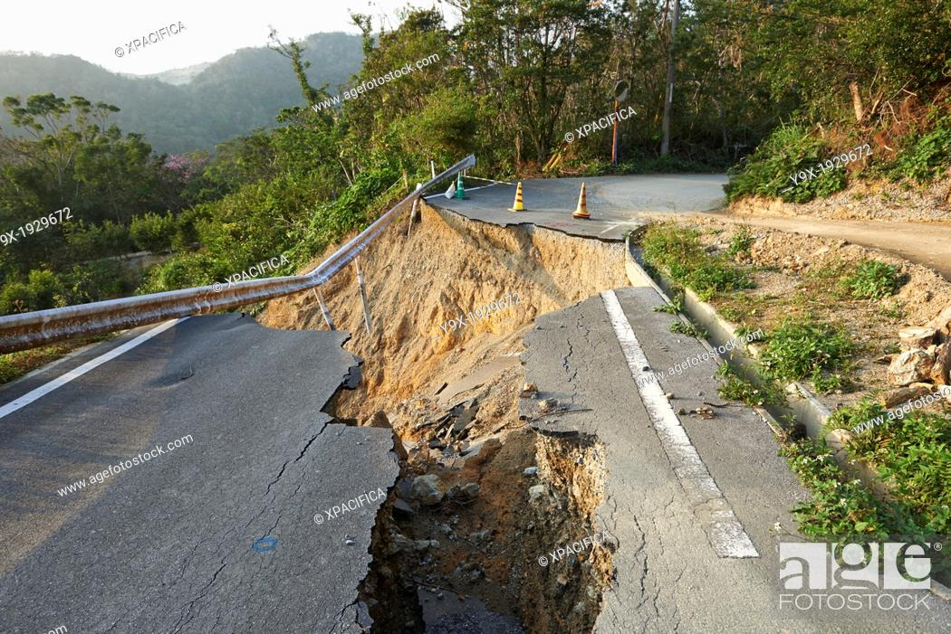 Stock Photo: Landslide damage caused by typhoons and torrential rains on a mountain road in Okinawa.