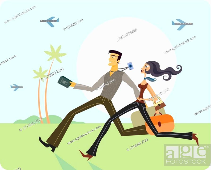 Stock Photo: Couple running with luggage.