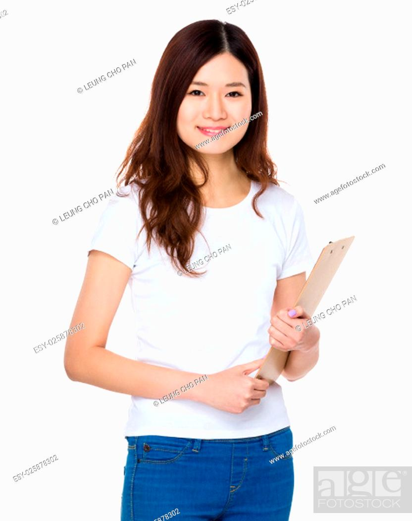 Stock Photo: Woman hold with clipboard.