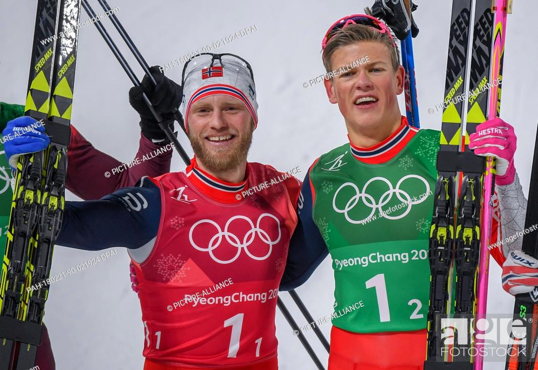 Martin Johnsrud Sundby L And Johannes Hoesflot Klaebo R From Norway Celebrating Their Gold Medal Stock Photo Picture And Rights Managed Image Pic Pah 180221 90 021924 Dpai Agefotostock