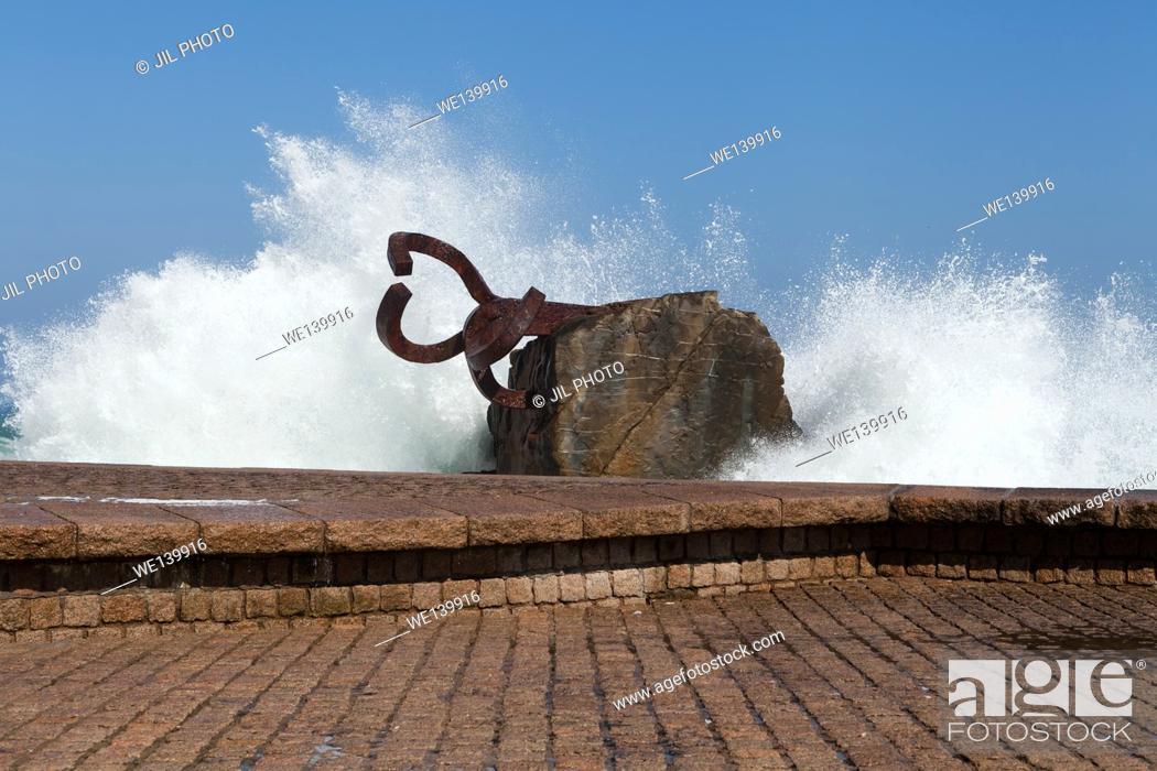 Stock Photo: Peine del viento (The Comb of the Winds ) Eduardo chillida sculpture. Donostia. san Sebastian. Basque Country. Spain.