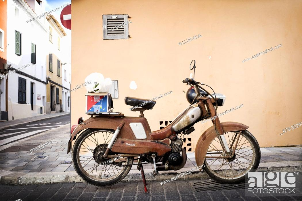 Stock Photo: Mobylette G.A.C. parked on a street. Mahon, Baleares, Spain, Europe.
