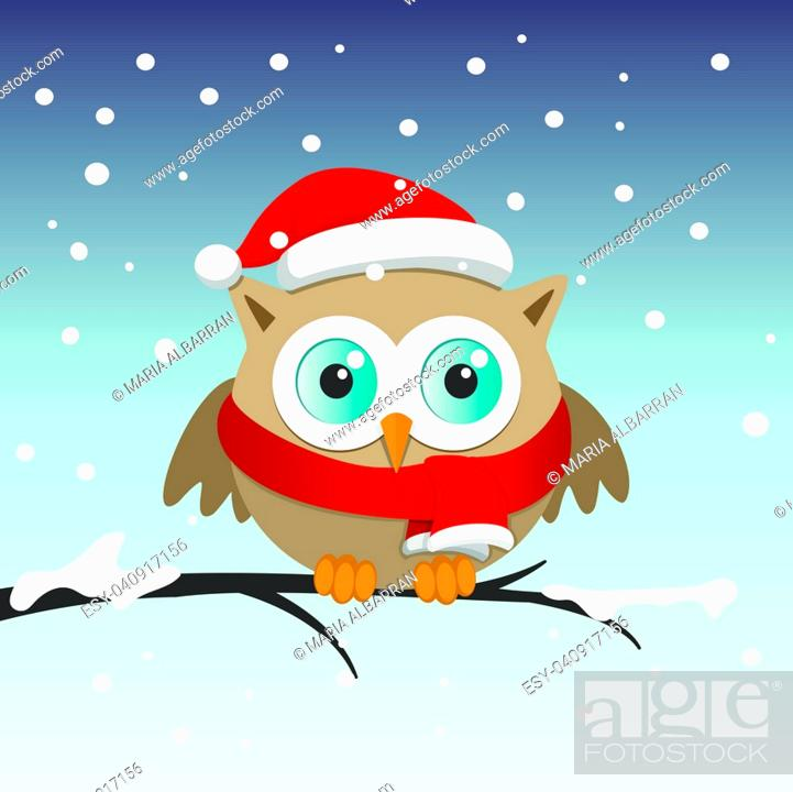 Vector: Male owl with Santa Claus hat on a branch in a snowy day. Christmas vector illustration.