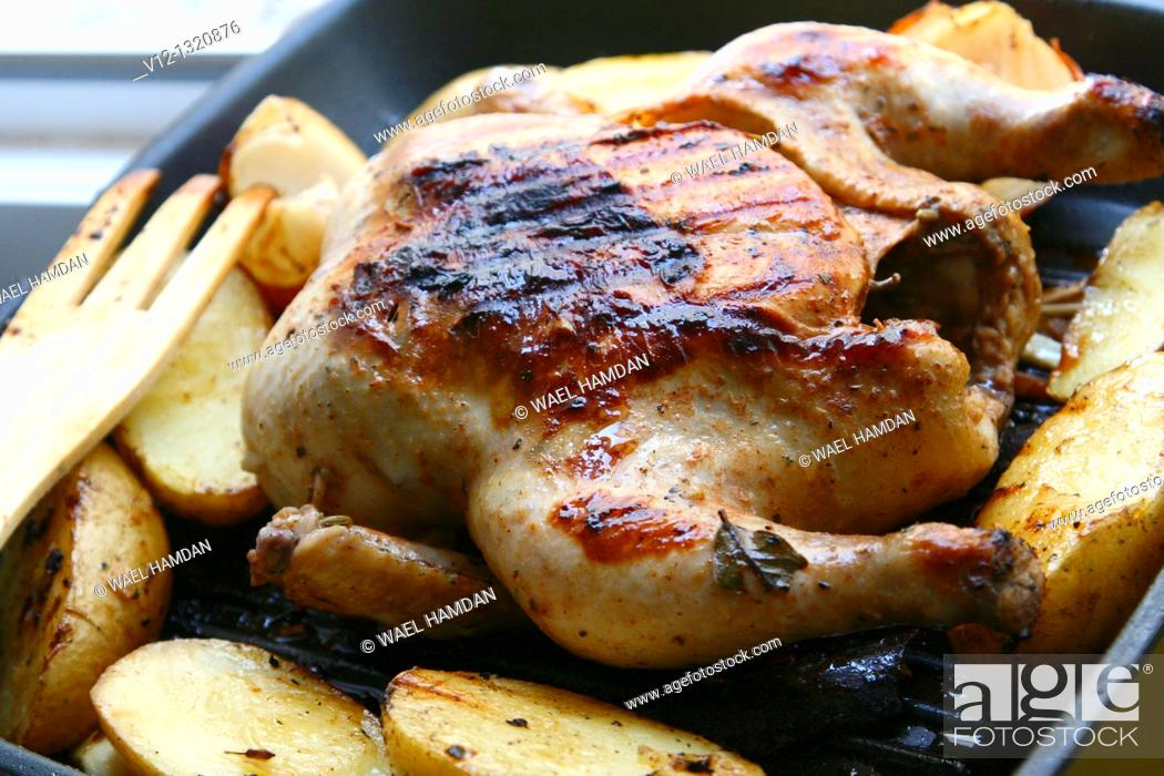 Stock Photo: grilled chicken with Potato.