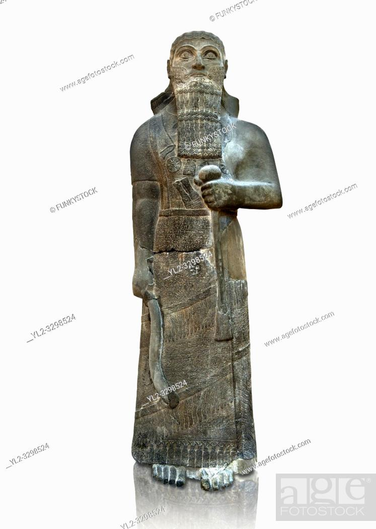 """Stock Photo: Neo-Assyrian basalt statue of King Shalmaneser III (858-824 B. C) . Inscription reads """"Shalmaneser, the great king, the mighty king, king of all four region."""