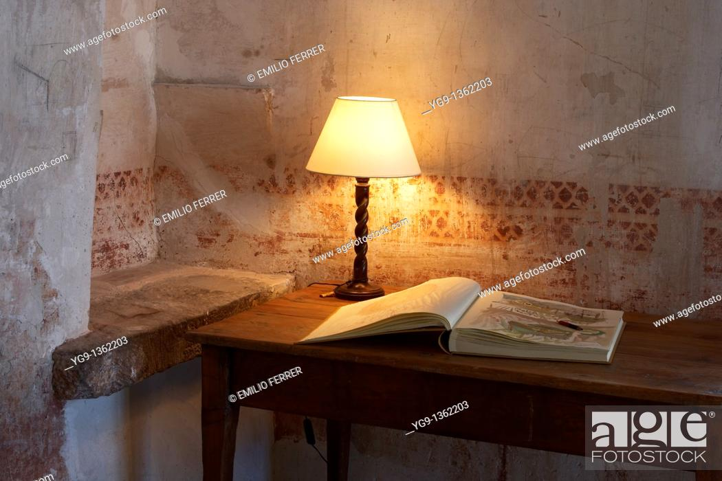 Stock Photo: Table with Lamp and Book  Girona  Spain.