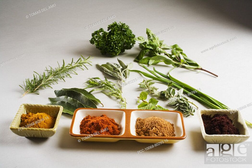 Stock Photo: Barbecue scene, fresh herbs and spices laid out on white background.