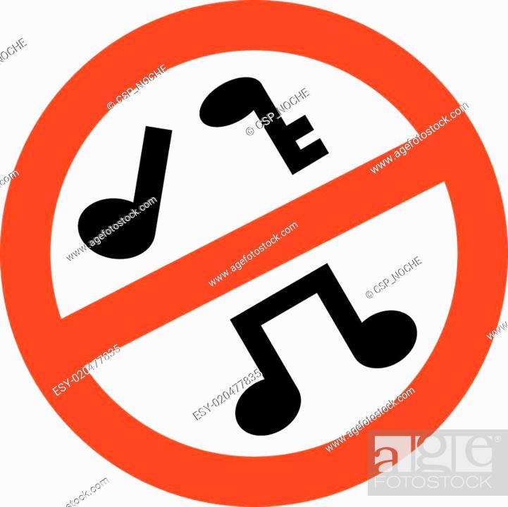 Vector: prohibido musica.