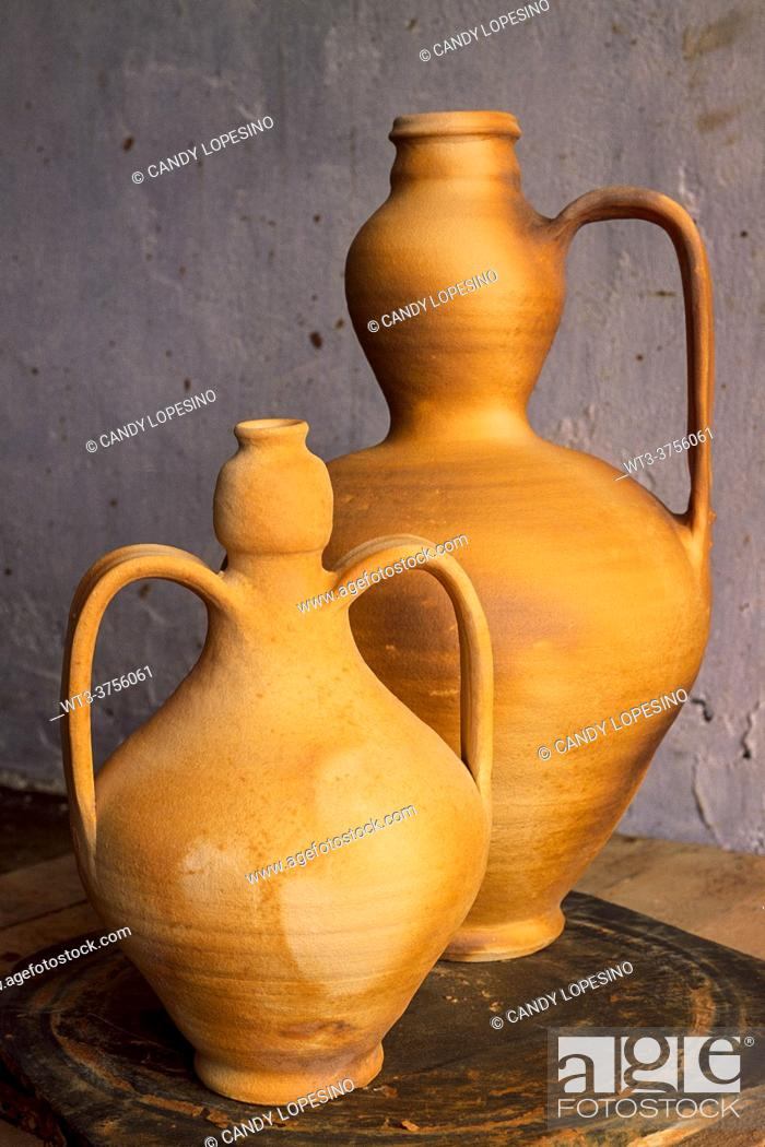 Stock Photo: Two clay pitchers, MOVEROS DE ALISTE, ZAMORA province, CASTILLA-LEON, SPAIN, EUROPE.