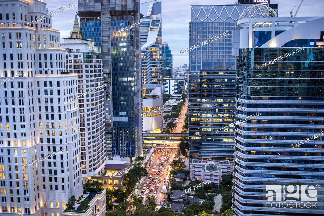 Stock Photo: Skyline and Wireless Road at night, downtown, Bangkok, Thailand.