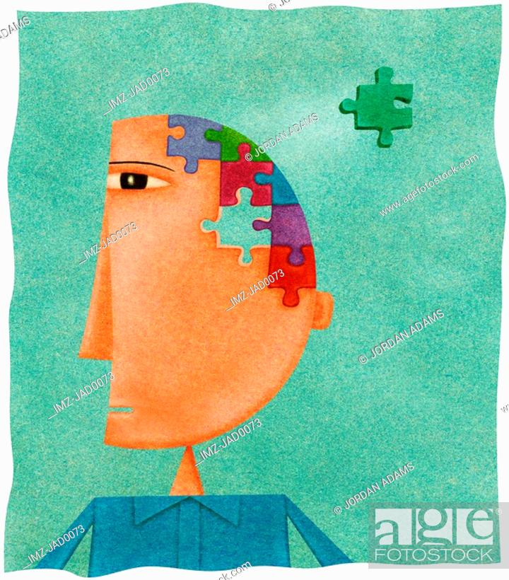 Stock Photo: A man with a puzzle on his head and a missing piece.