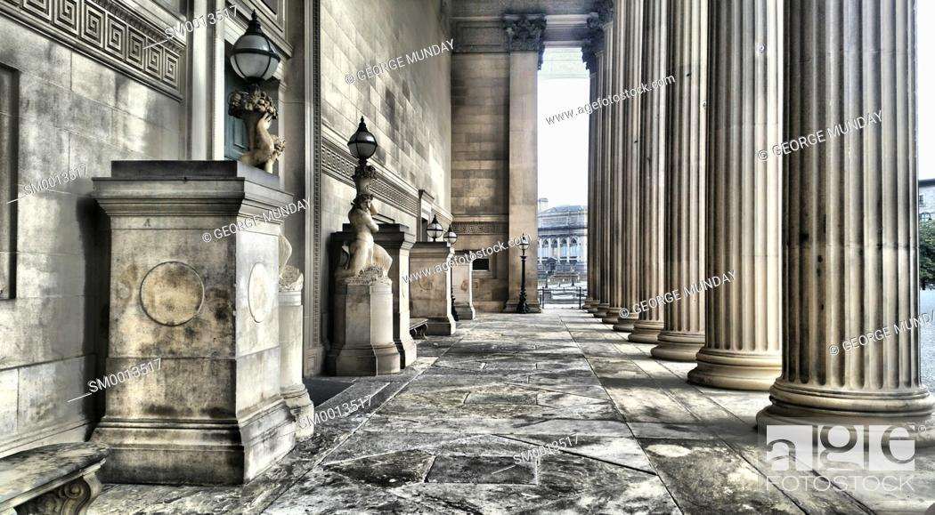 Stock Photo: neoclassical Columns and Portico, St George's Hall, . Liverpool, Merseyside, England.