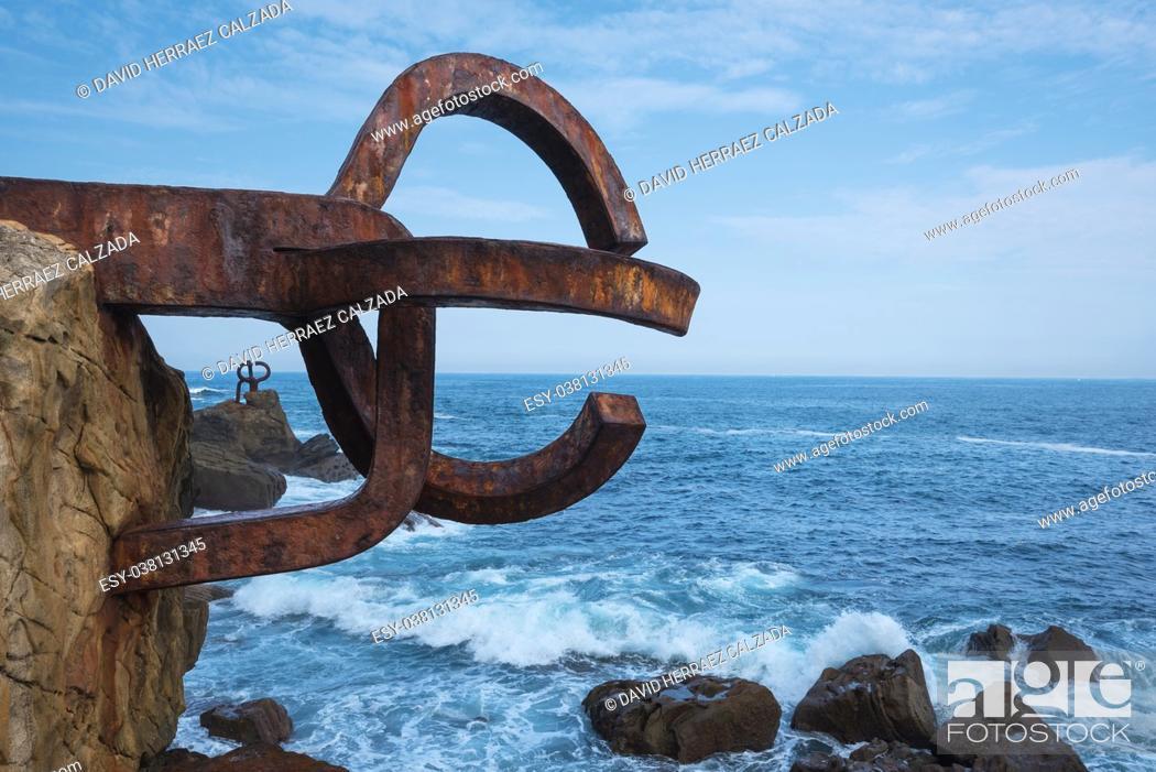 Stock Photo: Peine del viento Sculpture in San Sebastian, Spain.