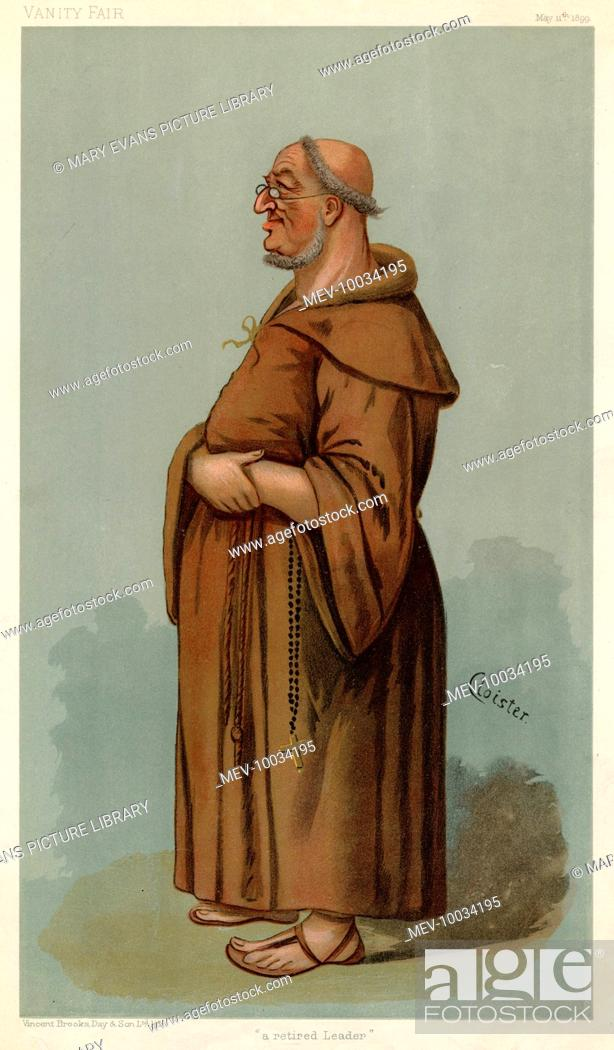 Stock Photo: Sir William Venon Harcourt - British statesman caricatured as a tonsured monk.