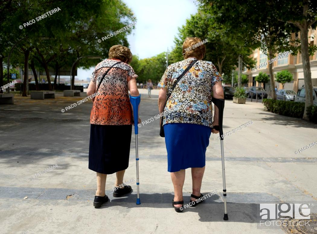 Stock Photo: 2 seniors, Old people, Spain.