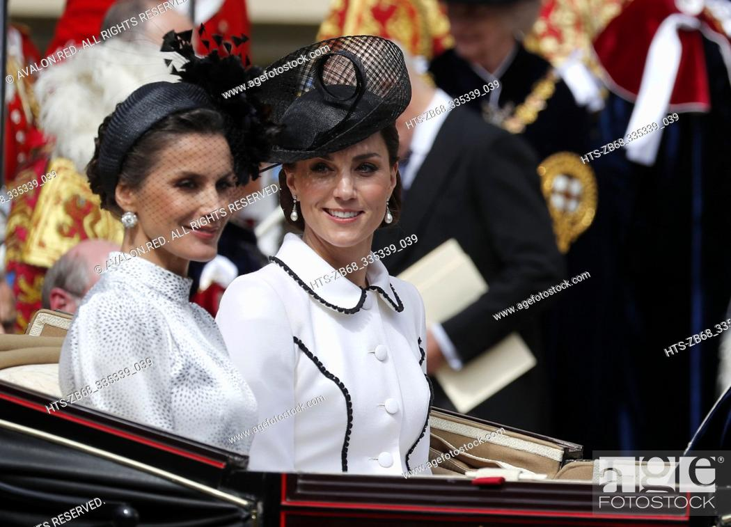 Stock Photo: Spain's Queen Letizia and Britain's Kate, the Duchess of Cambridge leave the Order of The Garter Service at Windsor Castle in Windsor, Monday, June 17, 2019.